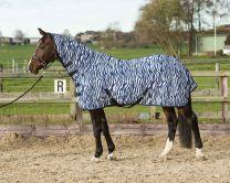 Malla de volante de Harry's Horse con cuello y cincha, cebra azul medival
