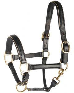 Harry's Horse Cuero halter, negro con ribete