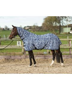 Harry's Horse Doble techo de malla con cuello y cinchas, cebra azul medieval