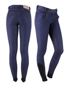 QHP Pantalones de Montar Denim asiento antideslizante