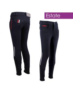 QHP Pantalones de montar Asiento completo antideslizante Junior Coco Estate White 116