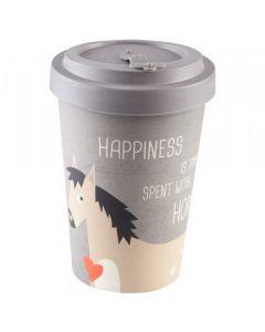 PFIFF Taza de café para llevar 'HAPPINESS & HORSES' bambú